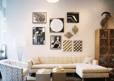 White brick wall + gallery.