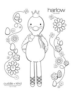 Harlow the swan Coloring Sheets For Kids, Printable Coloring Sheets, Disney Coloring Pages, Colouring Pages, Colouring Sheets, Cute Kids Crafts, Toddler Crafts, Childrens Artwork, Free Printable Art