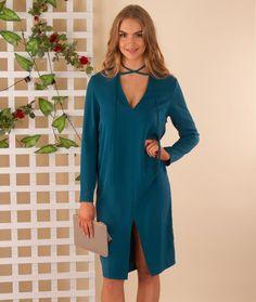 Georgia Loose Fitting Shift Dress – Teal | $54.97 | f r e e   p o s t | choker  •  shift  •  layering