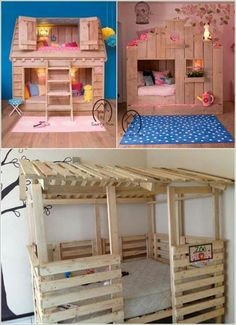Recycled pallets bunk bed