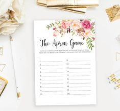 The Apron Game printable template Floral Bridal Shower memory games Bachelorette party activities In Bachelorette Party Activities, Printable Bridal Shower Games, Memory Games, Floral Watercolor, As You Like, Card Games, Apron, Printables, Memories