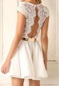 vestido pico encaje espalda abierta plisada cinturón metalizado-blanco