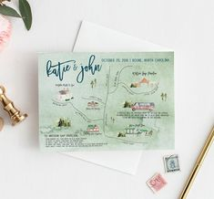 Custom Wedding Map with Watercolor Illustration Map Wedding Invitation, Watercolor Wedding Invitations, Wedding Stationary, Custom Stationary, Save The Date Maps, Wedding Save The Dates, Watercolor Map, Watercolor Illustration, Wedding Paper