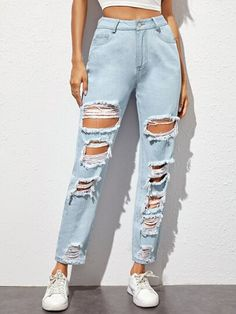 Shop All Women's Clothing Outfit Jeans, Tattered Jeans Outfit Casual, Cute Ripped Jeans, Mode Jeans, Teen Jeans, Ripped Knees, Girls Fashion Clothes, Teen Fashion Outfits, Destroyed Jeans