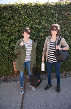 Tegan and Sara arriving at the studio to make their seventh record and Sara is sporting my fav opening ceremony sneakers
