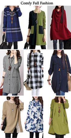 Comfy Fall Fashion, Comfy Fall Outfits Sale On lulugal. Kurti Designs Party Wear, Kurta Designs, Blouse Designs, Muslim Fashion, Hijab Fashion, Fashion Dresses, Stylish Dresses, Stylish Outfits, Casual Dresses