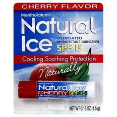 Mentholatum Natural Ice Lip Protectant SPF 15, Cherry Flavor, 0.16-Ounce Tubes (Pack of 12) by Natural Ice, http://www.amazon.com/dp/B000052YE4/ref=cm_sw_r_pi_dp_Sj2fqb0SAQBTH