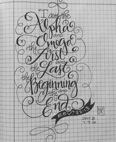 Rev 22:13 - #30daysofbiblelettering - Bible Journaling by Nola Pierce Chandler