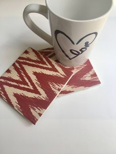 A personal favorite from my Etsy shop https://www.etsy.com/listing/466082426/red-chevron-coasters-red-home-decor