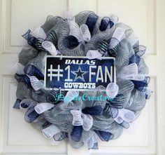 Dallas Cowboys Deco Mesh Wreath  1 Cowboy Fan  by PsychoCreators