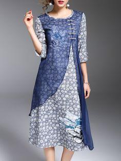 Shop Midi Dresses - Silk A-line Casual 3/4 Sleeve Crew Neck Midi Dress online. Discover unique designers fashion at StyleWe.com.