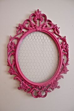 large hot pink hair bow holder with chicken - make myself. Find cute frame at Goodwill, spray paint and add chicken wire.
