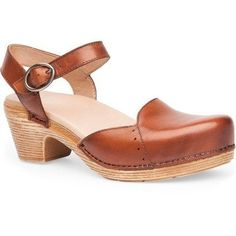 Dansko Women's Maisie Sandals Camel Full Grain 38 EU