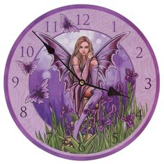 Fairy with Irises Clock, Lisa Parker