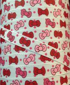 3/8 Grosgrain Ribbon - Printed Grosgrain Ribbon - Hello Kitty Bow Ribbon - Ribbon By The Yard - Supplies - Hello Kitty Pink Red Bow Ribbon