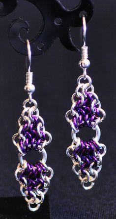 Purple and Silver Split Diamond Earrings by TheAlaskanMailleMan, $20.00