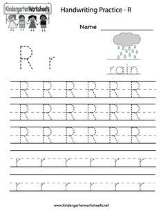Kindergarten Letter R Writing Practice Worksheet Printable Handwriting Worksheets For Kids, English Worksheets For Kindergarten, Preschool Letters, Kindergarten Writing, Preschool Printables, Preschool Worksheets, Letter R Crafts, Letter R Activities, Teaching Letters