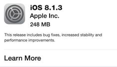 Download iOS 8.1.3 with Bug Fixes and Improvements