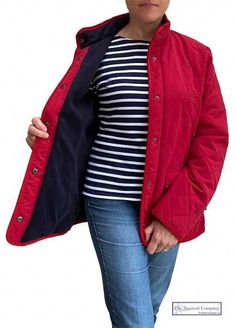 Breton Shirt, Sailor Shirt, Nautical Fashion, Quilted Jacket, Fleece Fabric, Lady In Red, Jackets For Women, Leather Jacket, Sweaters