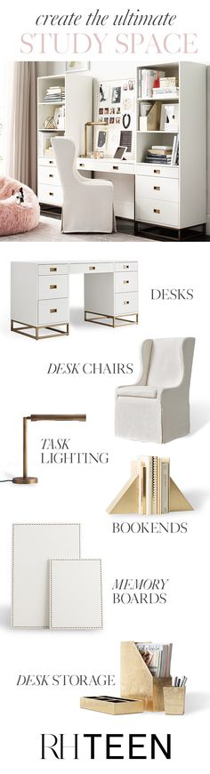 From desk chairs to lighting, accessories to storage, we have everything you need to create the ultimate study space for your dorm or apartment. Shop study essentials at RH TEEN. (Diy Storage For Teens) Home Office Design, Home Office Decor, House Design, Home Decor, Office Chic, My New Room, Dorm Room, Rh Teen, Teen Diy