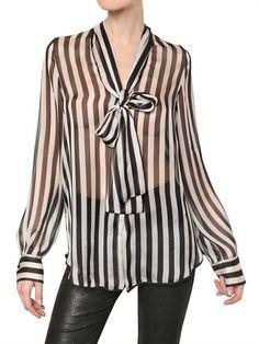 MSGM - Printed Silk Chiffon Shirt