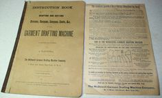 1800's McDowell Garment Drafting Machine instruction book