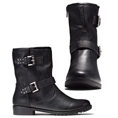 """Cool leatherlike boot hits just above the ankle. Plush Cushion Walk® footbed, treaded sole and full inside zip for easy on/off. 1"""" H heel.<br>Half sizes, order one size up. Available at http://youravon.com/normaandrews"""