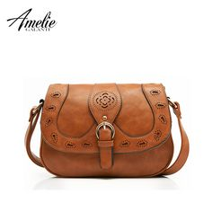 AMELIE GALANTI hot 2017 hot crossbody bag Hollow Out casual Fashion solid PU shoulder bags ladies round  Saddle