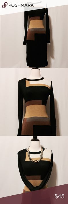 "⭐️ Vince Camuto Color Block Sweater Dress Scrumptious extra long sleeve knitted midi sweater dress. Color blocked in gold, bronze, cream and taupe. Featuring ribbed neckline, cuffs and hem. Body conscious fit.   100% Polyester   Machine Washable   36"" Chest  30"" Waist  36"" Hips  26"" skirt length  42"" Overall length   #TH0601116 Vince Camuto Dresses Midi"