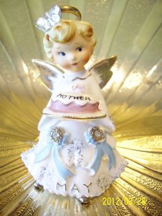 VERY RARE w/ Halo VTG Lefton Mother's Day May Birthday Angel Figurine GORGEOUS! | eBay