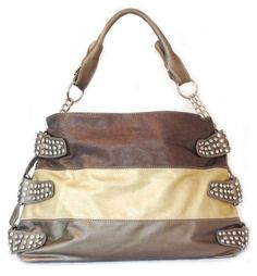 Pewter Leather Handbag - Bronze Stripe Hobo or Shoulder Bag with Rhinestones (Large) - Pewter Bronze EZ COMMERCE, http://www.amazon.com/dp/B007WMXIWQ/ref=cm_sw_r_pi_dp_RJAQqb167KBTH