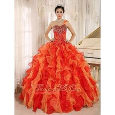 Custom Made Orange Red One Shoulder Beaded Decorate Ruffles Mendoza... ❤ liked on Polyvore