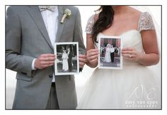 Amy Van Epps Photography - From Kelcey and Ben's wedding at Paradise Cove Orlando. They are both holding portraits from their parents' weddings!
