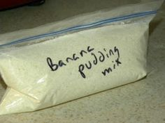 Homemade Pudding Mix!  Basic directions: 1/2 cup white sugar, 1/4 cup cornstarch, dash of salt.  This website has lots of flavors to make!