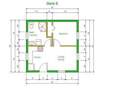 "20' x 20 house design idea   STARLA model ""B"" floor plan 20 X 20"