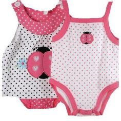 Baby Girl 3 Piece Hot Pink White Lady Bug Dots Top, Diaper Cover Onsie Set