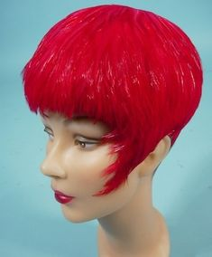"""1950's Red Feathered """"Wig"""" Hat"""