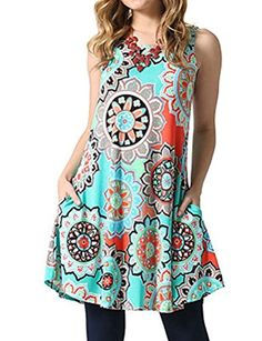 ed0e7a664cb7 Ruici Womens Summer Sundress Casual Sleeveless Floral Print swing dress  Mini Robes