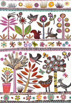 Folk-Art Forest by Jane Robbins. I see a quilt idea!