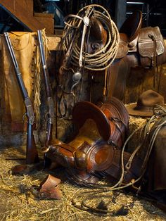 Rancher's Tack Room Western Art Prints by Robert Dawson Artist. The Rancher's Tack room is a great example of all the working tools of the Cowboy