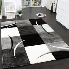 Christa Black/White/Grey Rug Longweave Rug size: Rectangle 160 x 230cm