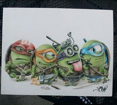 Artist Fabian Nuñez has created a fun piece of drawing depicting the minions from 'Despicable Me' as Teenage Mutant Ninja Turtles.