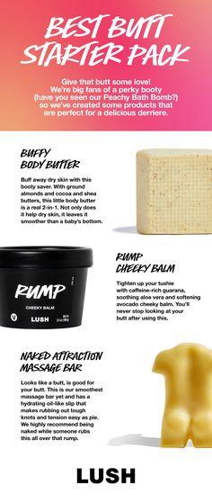 Give that butt some love! We're big fans of a perky booty (have you seen our Peachy Bath Bomb?) so we've created some products that are perfect for a delicious derriere. Beauty Products, Beauty Tips, Beauty Hacks, Lush Canada, Lush Usa, Fizzing Bath Bombs, Apple Bars, Spiced Pear, Cherry Lips