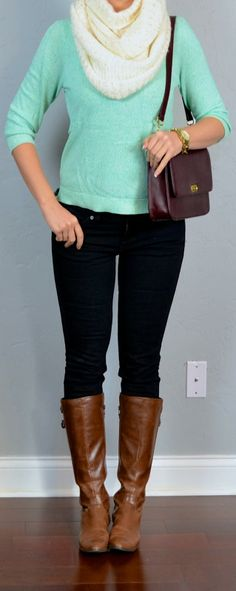 Outfit Posts: outfit post: mint sweater, black skinny jeans, cream infinity scarf.  Would want a different color sweater.