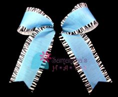 46c506b99a6986 Custom Columbia blue Zebra Cheerleader Hair Bow by SamanthasHats