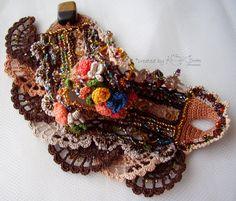 Crochet cuff Crochet bracelet Cuff bracelet by KSZCrochetTreasures Bracelet Crochet, Beaded Cuff Bracelet, Bead Crochet, Crochet Lace, Cuff Bracelets, Crochet Baby Cardigan, Style Ethnique, Lace Cuffs, Headband Pattern
