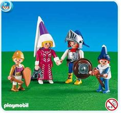 Playmobil Knight Family by Playmobil. $15.99. This item is part of the Direct Service range. This range of products are intended as accessories for or additions to existing Playmobil sets. For this reason these items come in clear plastic bags or brown cardboard boxes instead of a colorful retail box.. A family of heros! Mother, Dad, Sister and Brother are all ready for battle. Adults are about 3 inches and children are about 2 inches.