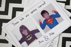Save the Date Postcards // superhero costumes // destination wedding save the date Save The Date Fotos, Destination Wedding Save The Dates, Save The Date Postcards, Super Hero Costumes, Polaroid Film, Dating, Superhero, Feelings, Kids
