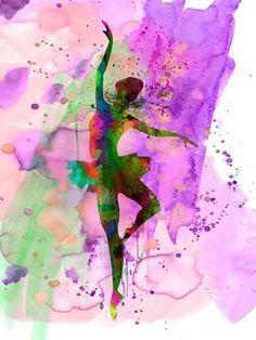 Ballerina Dancing Watercolor 1 Poster Print by Irina March Dance Art Modern Pop Ballet Performing Arts