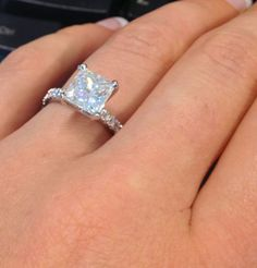 Princess cut engagement ring - Sparkly pave style, with a pretty large rock! -- repinned by bridesandrings.com